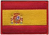 Bandera de España rojo frontera bordado insignia parche para coser o planchar 10cm