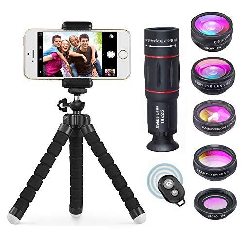 Apexel 8 en 1 Kit de Lentes de cámara para teléfono Teleobjetivo...