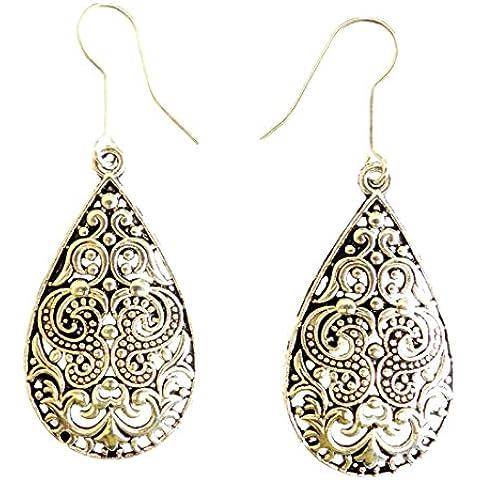 ORECCHINI moda per le donne 925 STERLINA SOVRAPPOSIZIONE FILIGRANA ovale spilla FORMA CIONDOLA - Black Pearl Ciondola Gli Orecchini