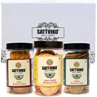 Sattviko 1 Jar Each of Pizza, Jeera and Methi Khakra Chips Jar,350g (3 Pack)