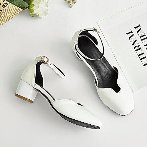 Damenschuhe Pumps Sandalen Two-Piece Blockabsatz Knöchelriemchen Schnalle Weiß