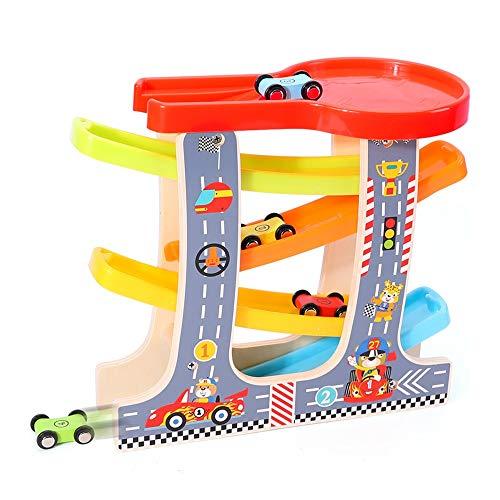 Xyanzi Kleinkindspielzeug Auto Ramp Racer, Auto Rampe Spielzeug 1 Auto Parkhaus & 4 Holz Autos Kleinkind Spielzeug Für 1 2 Jahre Alten Jungen Und Mädchen Geschenke (Größe: 10,63