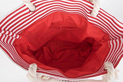 styleBREAKER, Borsa tote donna Grigio (Rot-Weiß / Grau)