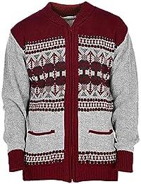 ffa9342f579141 Mens Classic Style Cardigan Argyle Diamond Pattern   Plain Casual Design  Zip Up Thick Knit Warm