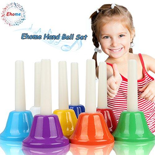 Ehome Hand Percussion Set,8 Notiz Diatonische Metall Hand Glocken, Kinder Musikinstrument Spielzeug, Musical Spielzeug Percussion Instrument