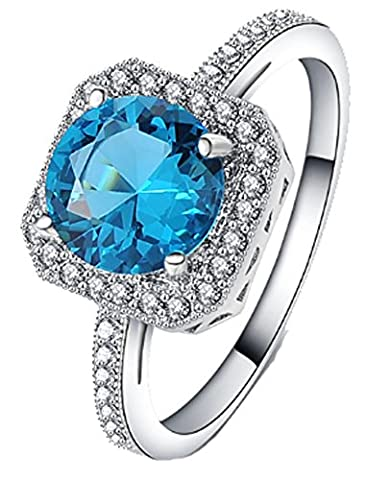 SaySure - Wedding Sapphire Ruby Ring Silver Plated (SIZE : 7)