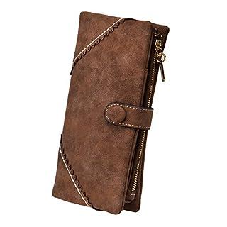 TechSmile Damen Leder Geldbörse Geldbeutel Damen Lange Damenhandtasche mit Knopf-kaffee Braun
