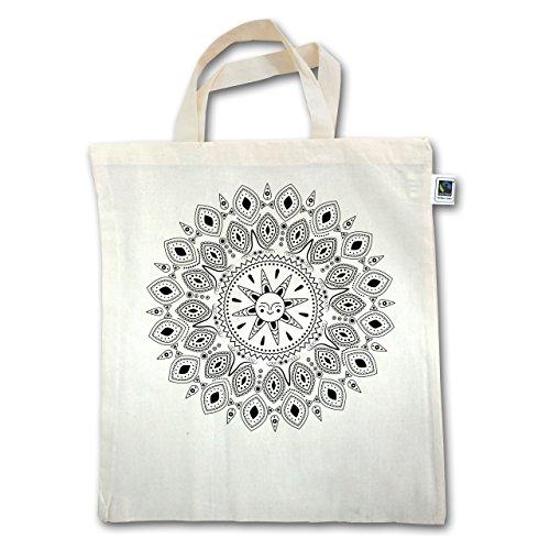 Shirtracer Boheme Look - Boho Mandala Yoga Sketch - Unisize - Natural - XT500 - Jutebeutel kurzer Henkel