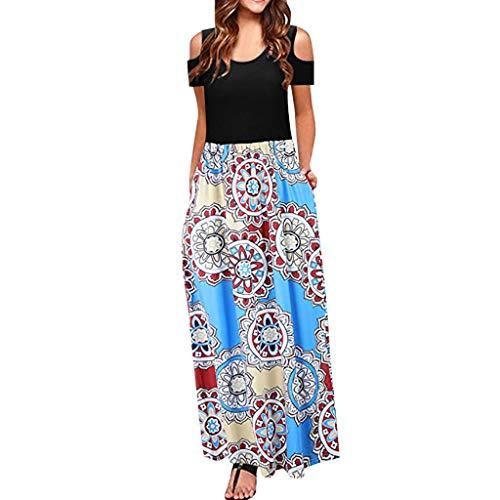 MORETIME 2019 Sommerkleid, Damen Kalte Schulter Tasche Blumendruck Elegante Kurzarm LäSsige Vintage Retro Elegant Kleider Party Knielang Ballkleid
