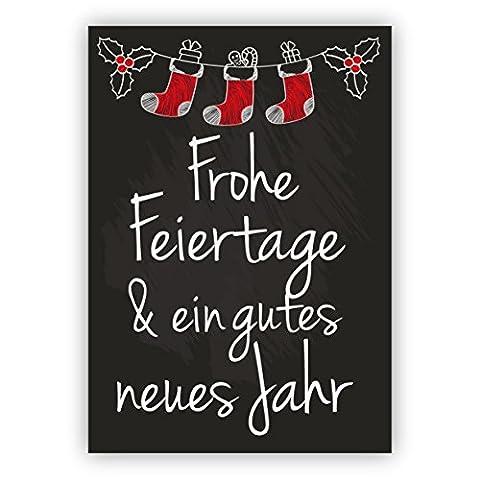 Weihnachts Klappkarten Set (4Stk) Nette Retro Weihnachtskarte im Tafel Look mit Weihnachtsmann Socken: Frohe Feiertage & ein gutes neues Jahr!