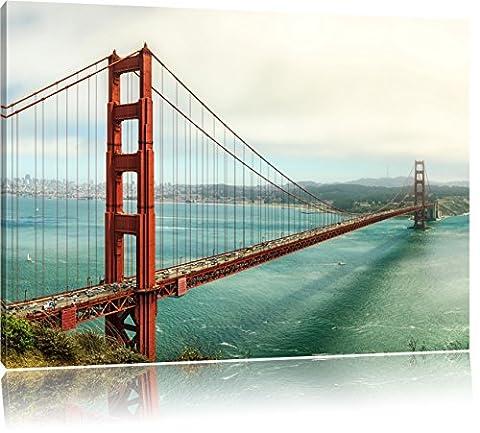 Golden Gate Bridge in San Francisco, Format: 100x70 auf Leinwand, XXL riesige Bilder fertig gerahmt mit Keilrahmen, Kunstdruck auf Wandbild mit Rahmen, günstiger als Gemälde oder Ölbild, kein Poster oder Plakat