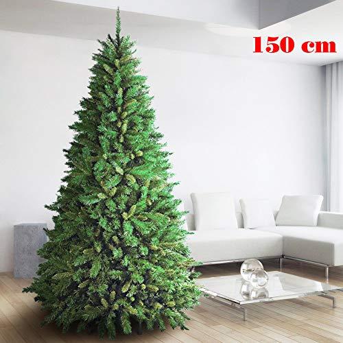 BAKAJI Albero di Natale 150 CM Super Folto Realistico Colore Verde 438 Rami New (TF) Altissima qualità Christmas Base a Croce in Ferro