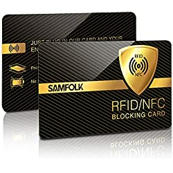 RFID NFC Protection Carte Bancaire, SAMFOLK RFID Blocage Portefeuille Porte-cartes , Rfid Blocking Carte Avec Brouilleur de Signal, étui Carte Bancaire rfid