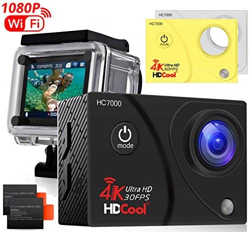 hdcool 4K Action Cam WiFi Action Camera 170degrés appareil photo avec Super Grand Angle étanche appareil photo adaptée aux sports, écran LCD 2.0Pouces for HC7000, 2piles incluses