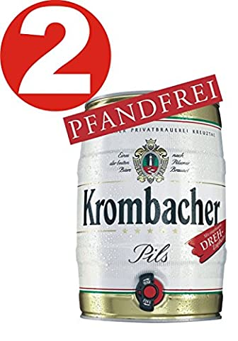 2 x Krombacher Partyfass 5 Liter 4,8% vol.