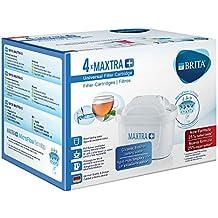 Brita MAXTRA+ Pack de 4 Filtros para el Agua, Cartuchos de Filtrado, Recambios Compatibles con Jarras Brita que Reducen la Cal y El Cloro