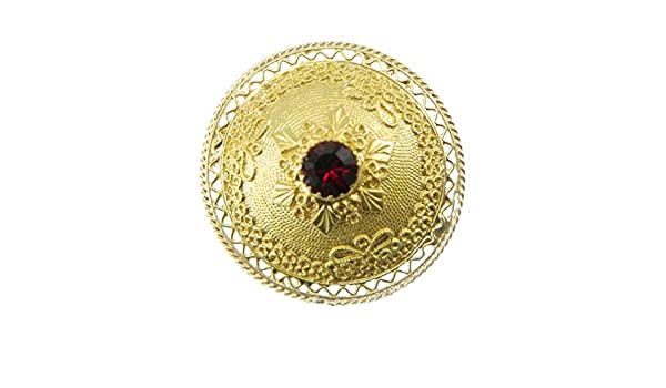 Giardino Pietra Rossa Sardegna : Spilla sarda forma bottone in argento dorato con pietra rossa