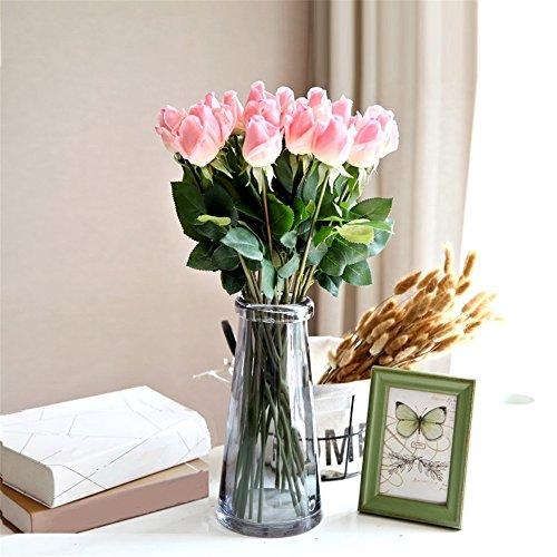 NOHOPE Vivid Rose idratante Tulip emulazione vasi di fiori di vetro Kit floreali Fiori artificiali regali di nozze Arredamento Soggiorno fiore - Delphinium Vaso