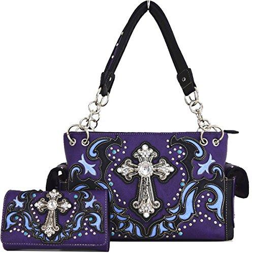Blancho Biancheria da letto delle donne [religiosa] borsa dellunità di elaborazione di cuoio di modo elegante Borsa BROWN COMBO-PURPLE