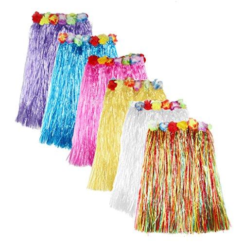 6 Pcs Kinder Mädchen Hawaii-Rock Grass Rock Tanzen Party Skirts Summer Strand Rock,40 cm