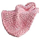 FLORYDAY Chunky Knit Blanket Coperta Fatta a Mano Gigante Coperta di tiro Super Grande Mano a Maglia di Filati Pet Letto Poltrona Divano stuoia di Yoga Tappet (Rosa, 120_x_150_cm)