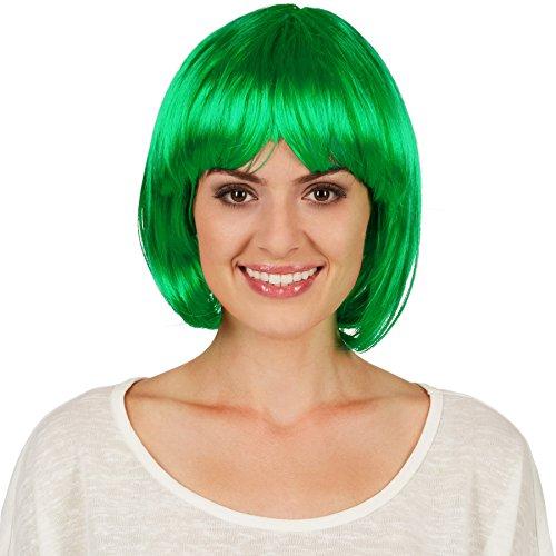 dressforfun Bob Perücke | Toller Haarschnitt mit Pony | Mit vielen Kostümen kombinierbar - Diverse Farben (Grün | Nr. 301129) (Mädchen Mal Perücke)