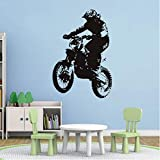 Knncch Dirt Bike Rider Vinyl Wandaufkleber Wohnkultur Schlafzimmer Kunst Aufkleber Abnehmbare Selbstklebende Tapete Dekoration 58 Cm X 87 Cm
