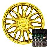 KandyDip® Sprühfolie Luxury Metal Gold Flüssiggummi Felgenfolie Spraydosen Sets+2K, (1x Effekt, Satin)