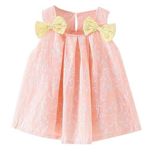 WOCACHI 9-36 Monate Baby Mädchen Sommer Kleider Prinzessin Bowknot dekoriert Festzug weiß Gras gedruckt ärmellosen Bowknot Kleid (Age:0-9M, Rosa)