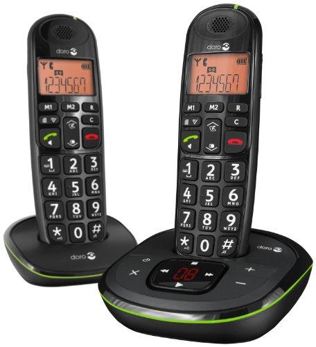 Doro PhoneEasy 105wr Duo Schnurloses Telefon mit Mobilteil inkl. Ladeschale schwarz