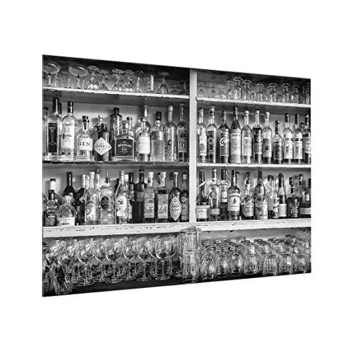 Bilderwelten Spritzschutz Glas - Bar Schwarz Weiß - Querformat 3:4, HxB: 59cm x 80cm -