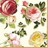 """""""Rosalia Champagne"""" - Pack of 20 paper napkins - 33x33cm - 3ply - Floral Decoupage Shabby Chic"""