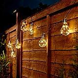 Guirlande Lumineuse Solaire Décorative - 10 Ampoules Tranparentes à Micro LEDs Éclairage Blanc Chaud- 3,90 Mètres par Festive Lights