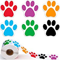 A Roll of 600 Pieces Colorful Paw Print Stickers Dog Paw Labels Stickers Bear Paw Print, 1.5 Inch