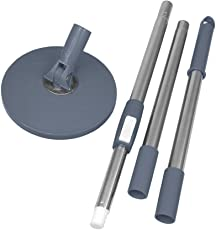 Primeway Magic Spin Mop 3 Section Clip Lock Handle Rod Set with Disc, Grey