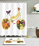 Duschvorhang Digitaldruck Wasserdichte Mehltau Badezimmer Zubehör Dekoration (Einschließlich Fußmatten),B,180×180Cm