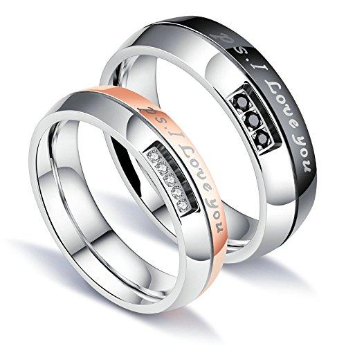 Beglie Schmuck Paar Ringe Eheringe Trauringe Hochzeitsringe für Sie und Ihn Bicolor mit Gravur Band Ringe Paarringe mit Gravur Silber mit Gratis Gravur Damen:57 (18.1) & Herren:62 (19.7)