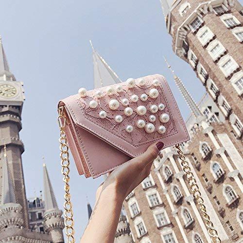 JKHGJUH Das Mädchen Pack Perle Kosmetik/Einzelner Schulterbeutel/Rampe / Kette/kleine Party Pakete/Lock / Kette zu den magnetischen Clip/Zip Dark Bag (Farbe : Pink) -