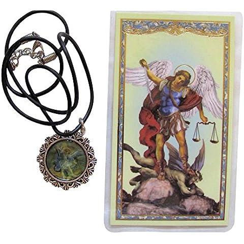 Saint Michael El Colgante Arcángel peltre con collar de piel regenerada libre Bendecido laminado tarjeta de oración)