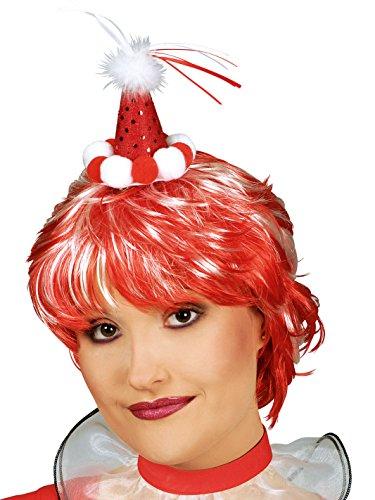 Mini-Clownshut mit Bommeln für Erwachsene (Halloween Kopf Kostüm Bommel)