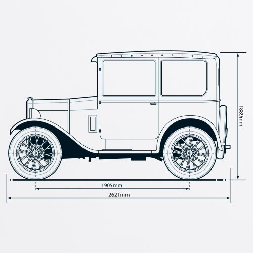 Seven 1928 Classic Car T-Shirt, Herren Wei
