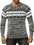 ArizonaShopping Hommes à Manches Longues norvégien Chandail Chemise Motif H2570, Couleurs:Noir, Taille Chandail:XXL