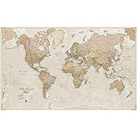 Mapa del mundo, plastificado, diseño antiguo