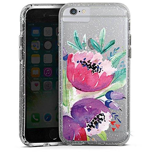 Apple iPhone X Bumper Hülle Bumper Case Glitzer Hülle Blumen Bunt ohne Hintergrund Transparent Durchsichtig Bumper Case Glitzer silber