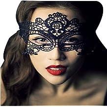 Haodou Partido de las mujeres cara máscara de los ojos de encaje traje veneciano Carnaval de la mascarada fiesta de halloween baile de fin de curso de disfraces máscara negro (Estilo 2)