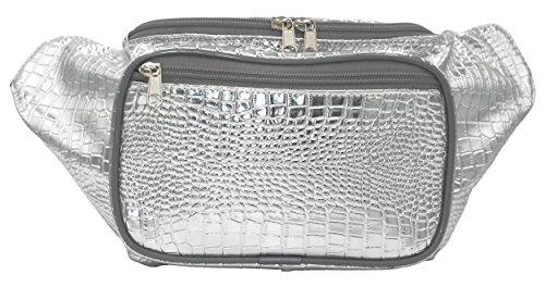 Doris Boutique FU - [3 Tasche] PU Leder Gürteltasche Canvas Hüfttasche Gewebtes Baumwollgewebe Bauchtasche Geldbeutel Bikertasche (Silber)