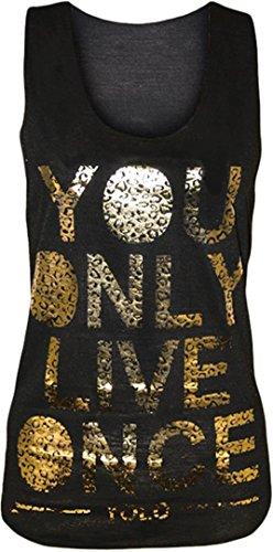 New Womens Neon Farbe Brenn Alter Out Yolo drucken Racer Vest Tops 36-42 Black