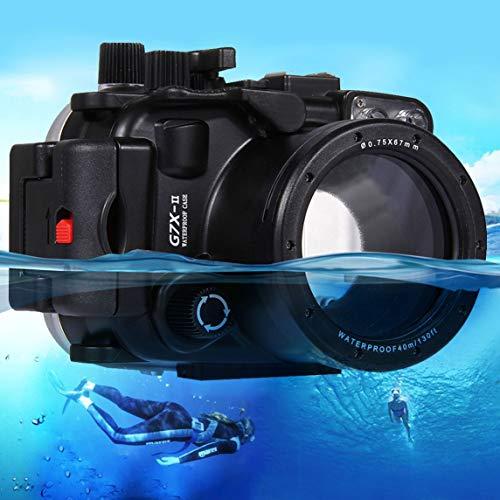 Footprintse PULUZ Unterwasser Tauchen Fall wasserdicht Kamera Gehäuse für Canon G7 X Mark II-Farbe: Schwarz