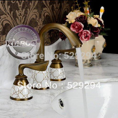 Jduskfl Faucet Kitchen Faucet Net Faucet Bathroom Faucet Doppelgriff aus Messing antik glänzend Wasserhahn Bagno. Badezimmerarmatur mit 3 Teilen, montiert auf der Brücke. Wasserhahn Dell'Acqua, Messing, Rot
