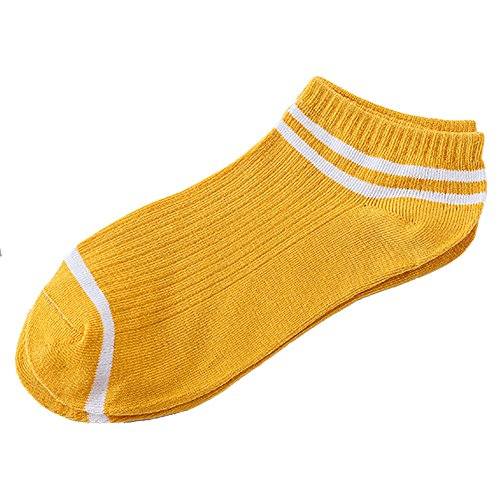 Gaddrt 1 Paar Unisex Streifen Komfortable Baumwollsocken Hausschuhe Kurze Söckchen Frauen Socken 22-24cm (Yellow)